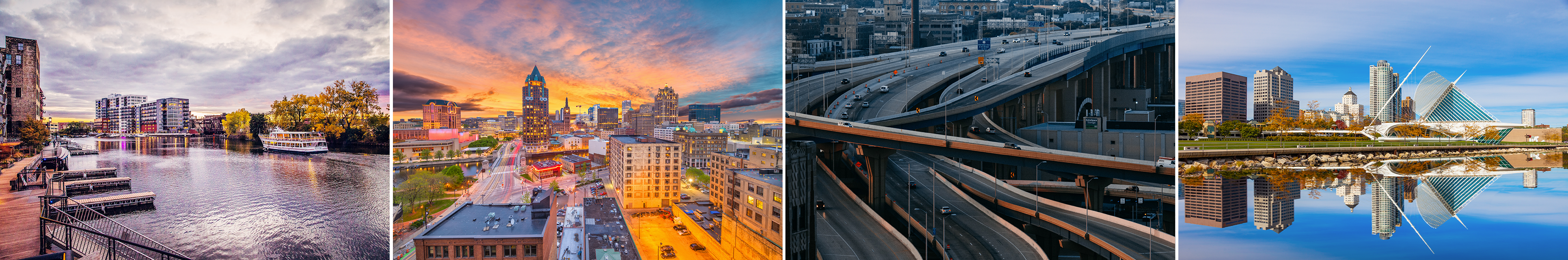 A collage of pictures of Milwaukee including the Art Museum and the city skyline at dusk