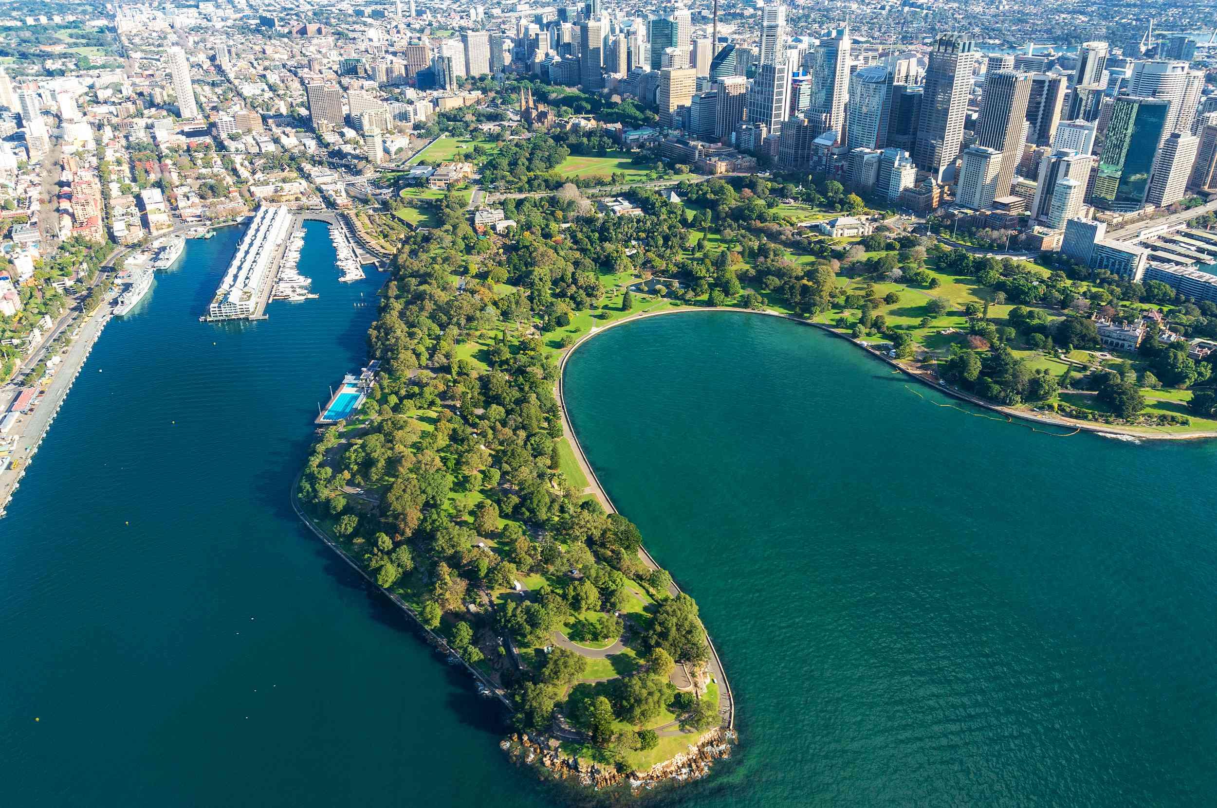 Aerial view of the Royal Botanic Gardens, Sydney