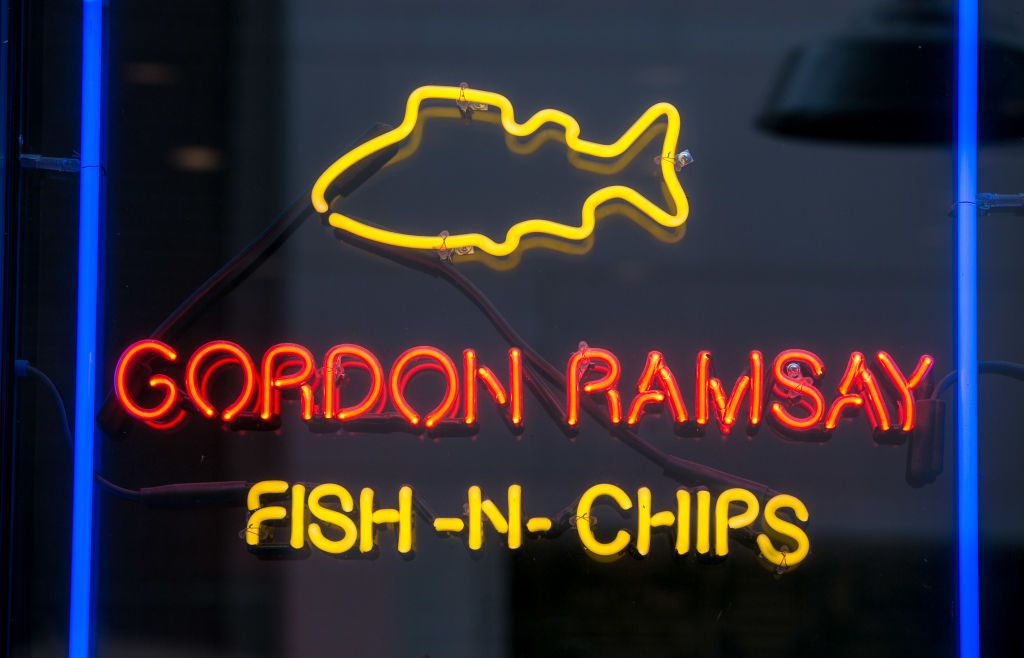 A neon sign at Gordon Ramsay's Fish-N-Chips restaurant in The Linq Promendade shopping and entertainment mall