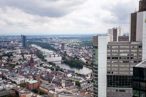 View of Frankfurt from the top floor of the Main Tower