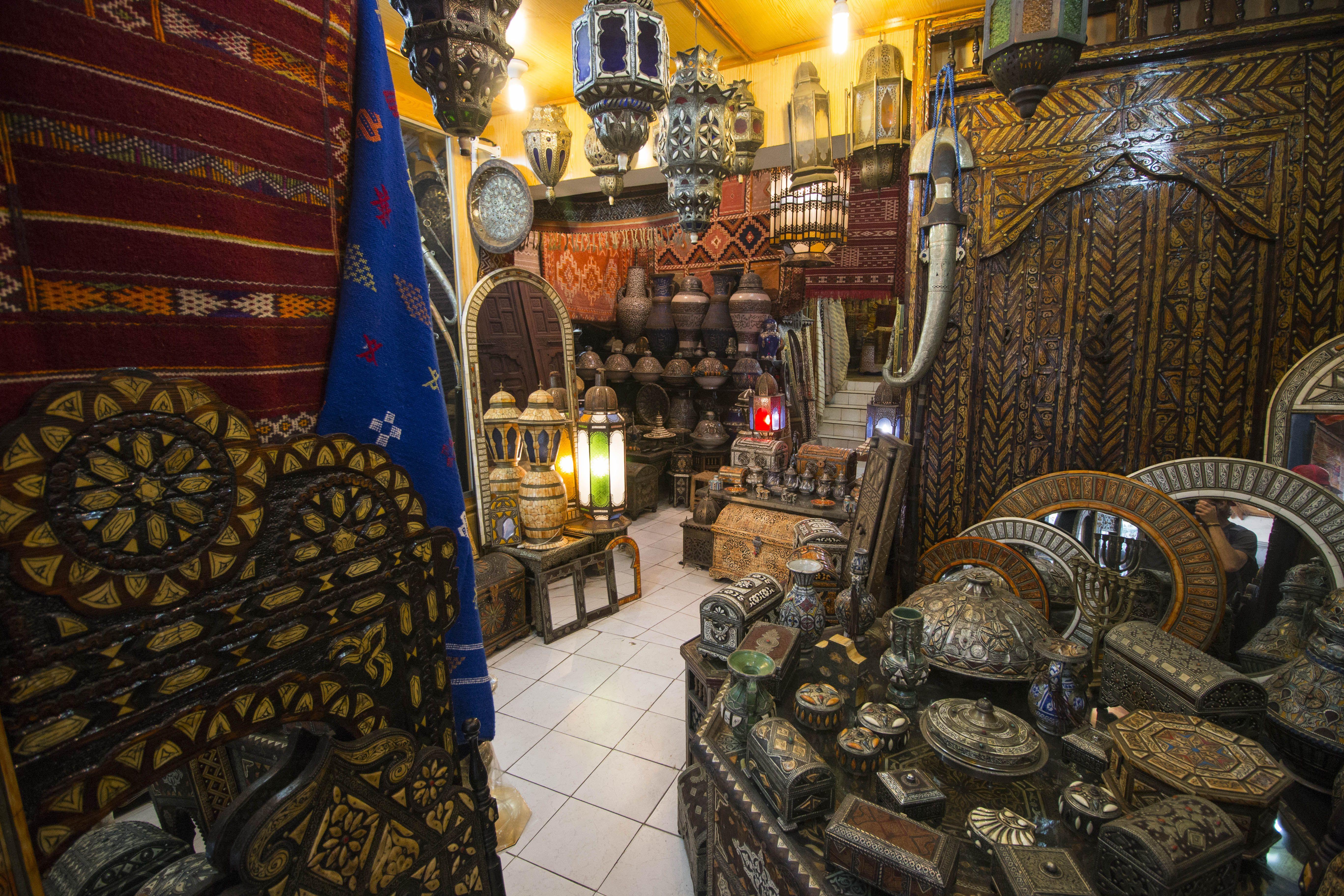 a peek inside a shop in Fez