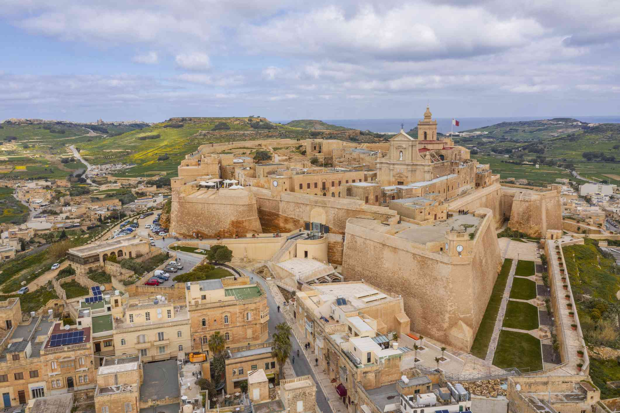 Cittadella, fortified medieval city in Victoria, Gozo. Drone Aerial Shot
