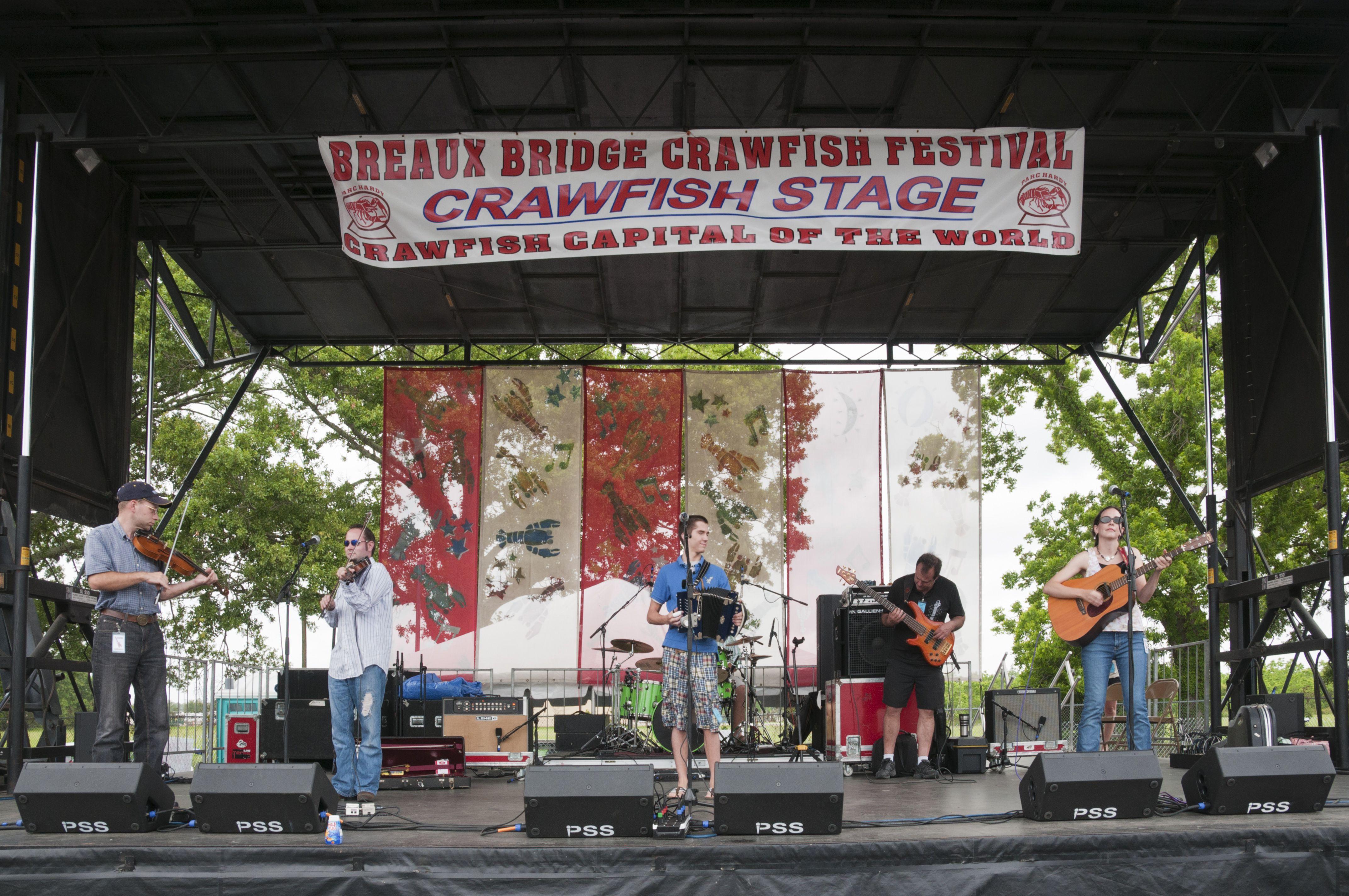 Band playing Cajun music at Annual Crawfish Festival.