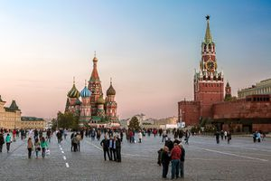 St. Basils Cathedral and the Kremlin in Red Square