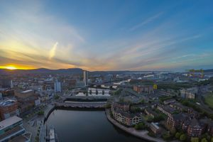 Sunset over Belfast and river