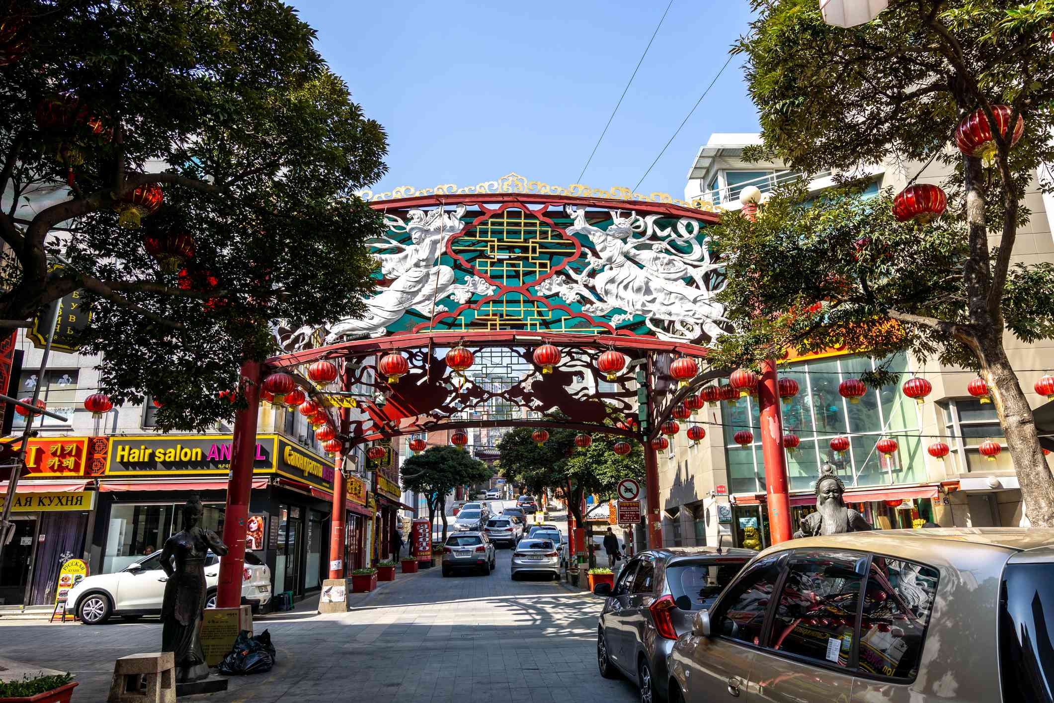 Decorative gate on the streets of Busan's Chinatown