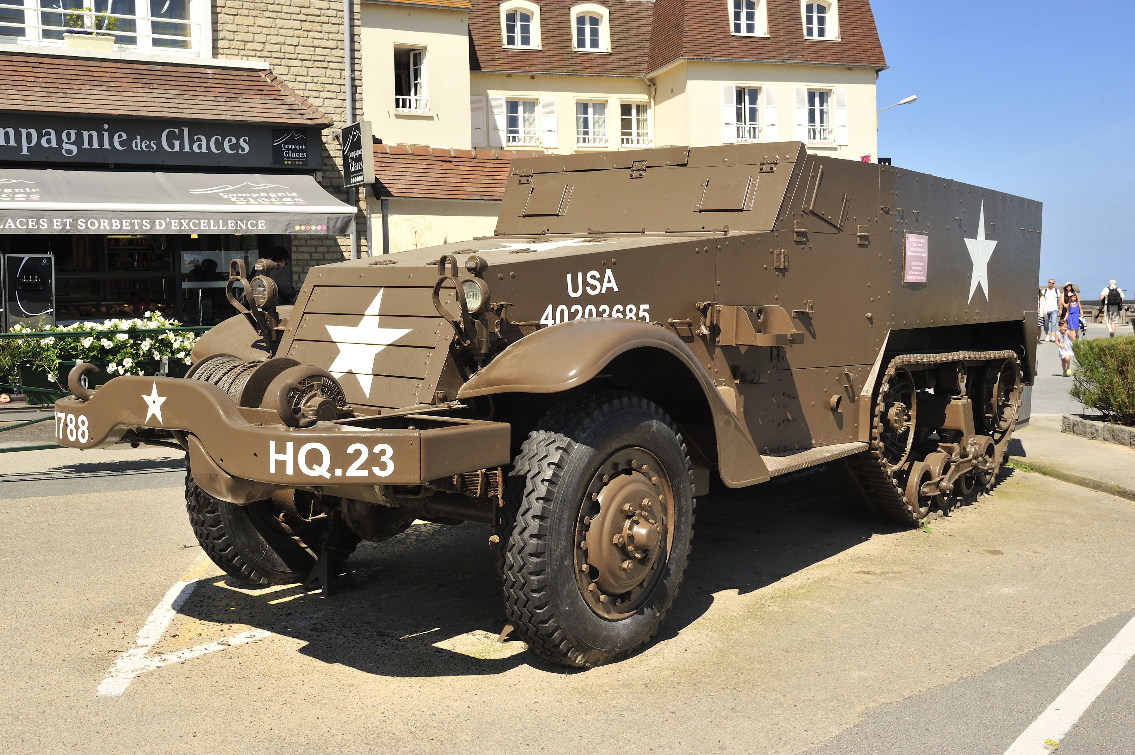 American armored vehicle remaining from 1944 Normandy Invasion, Arromanches-les-Bains, Calvados Department, Normandy, France