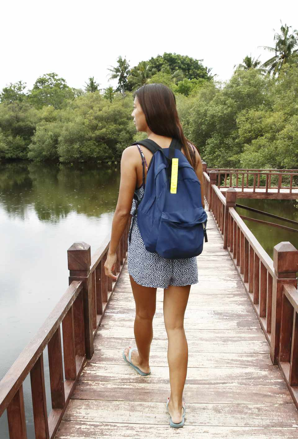 girl with carry-on backpack
