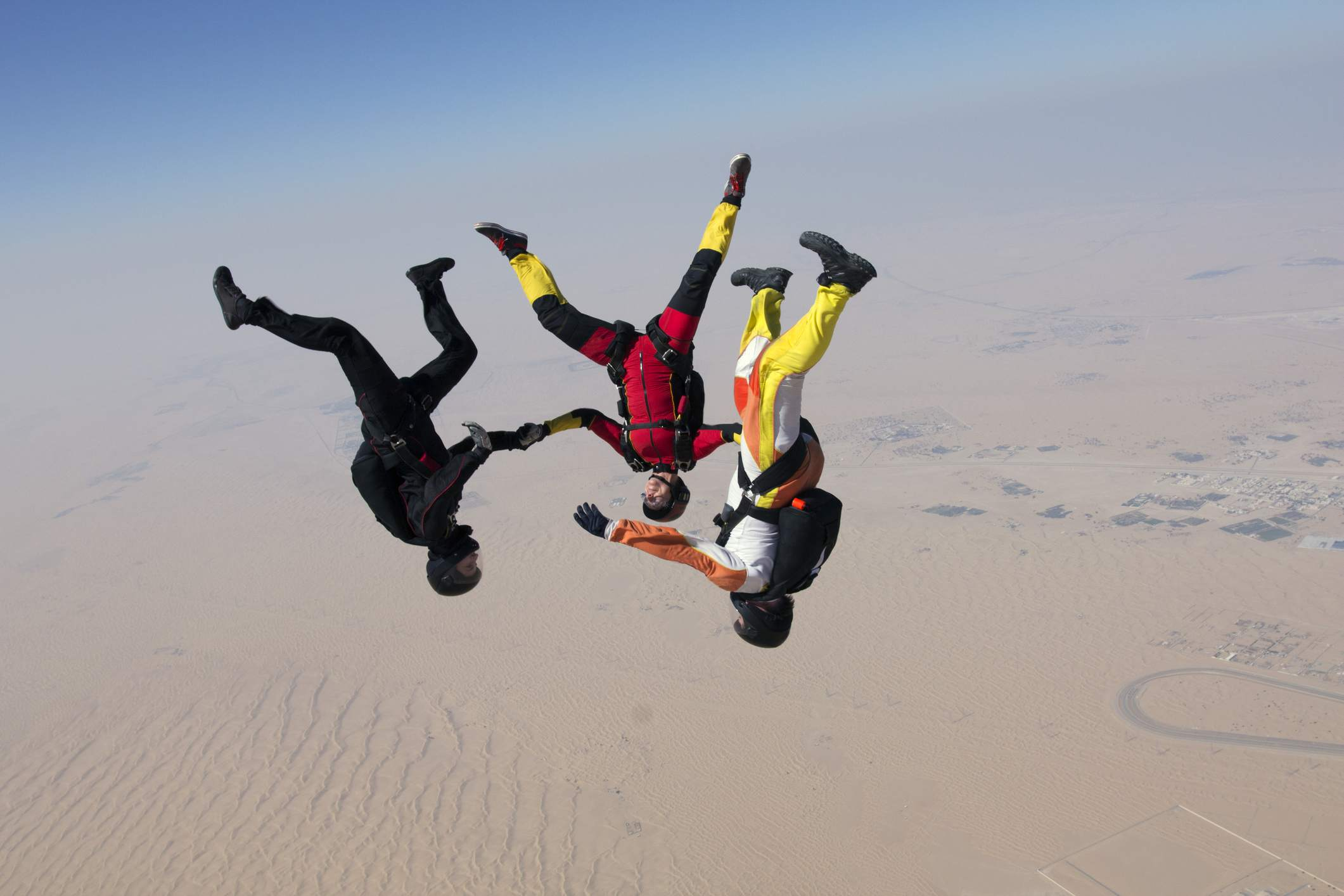 Head down skydiver team is flying free together