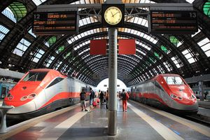 Trains at the Central Station in Milan