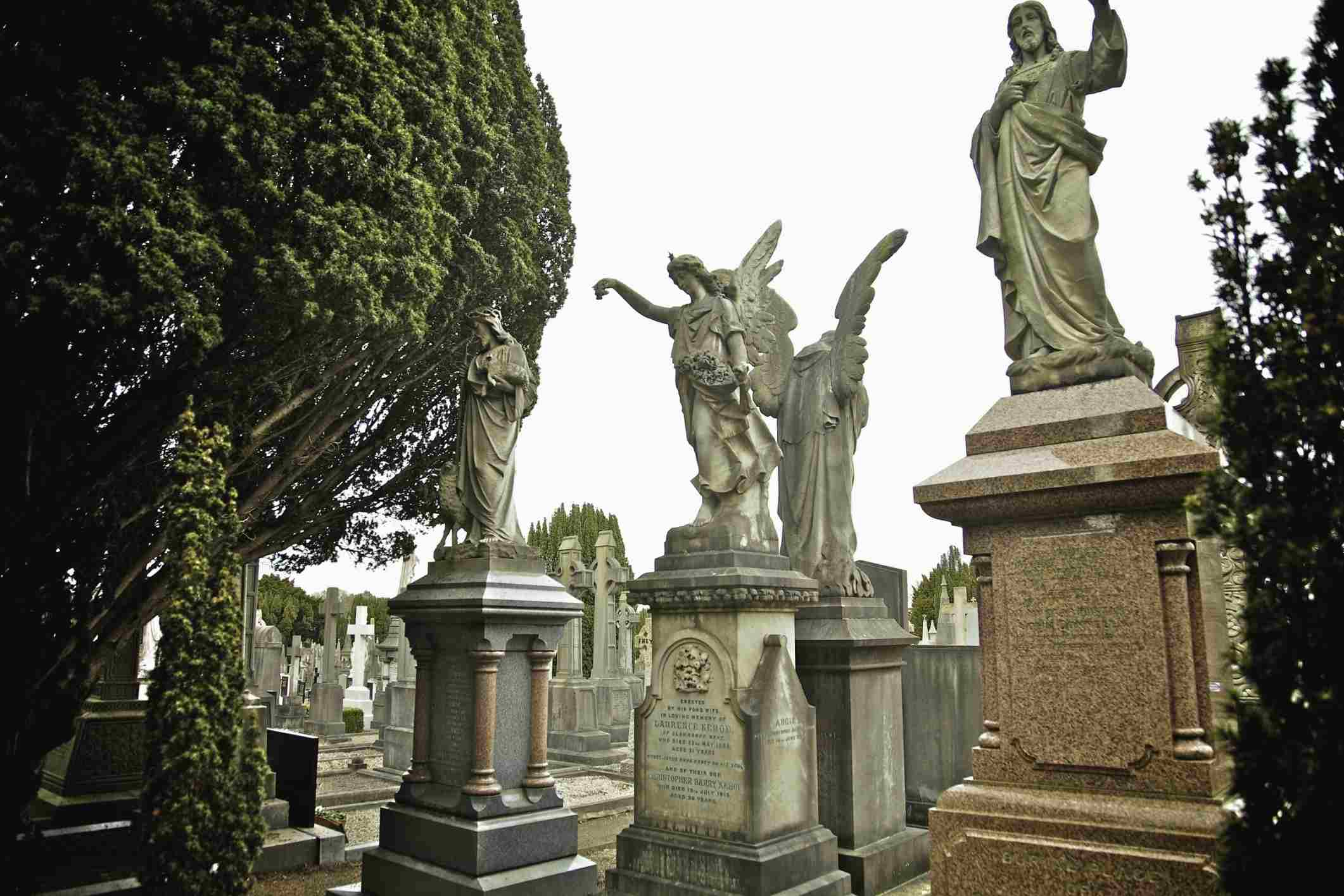 Ornate tombstones at Glasnevin Cemetery in Dublin, Ireland.