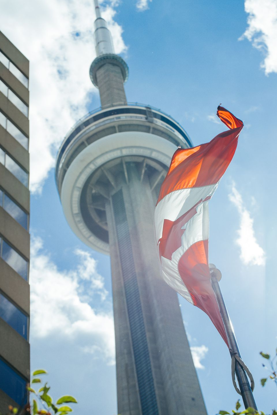 The CN Tower with the Canadian Flag