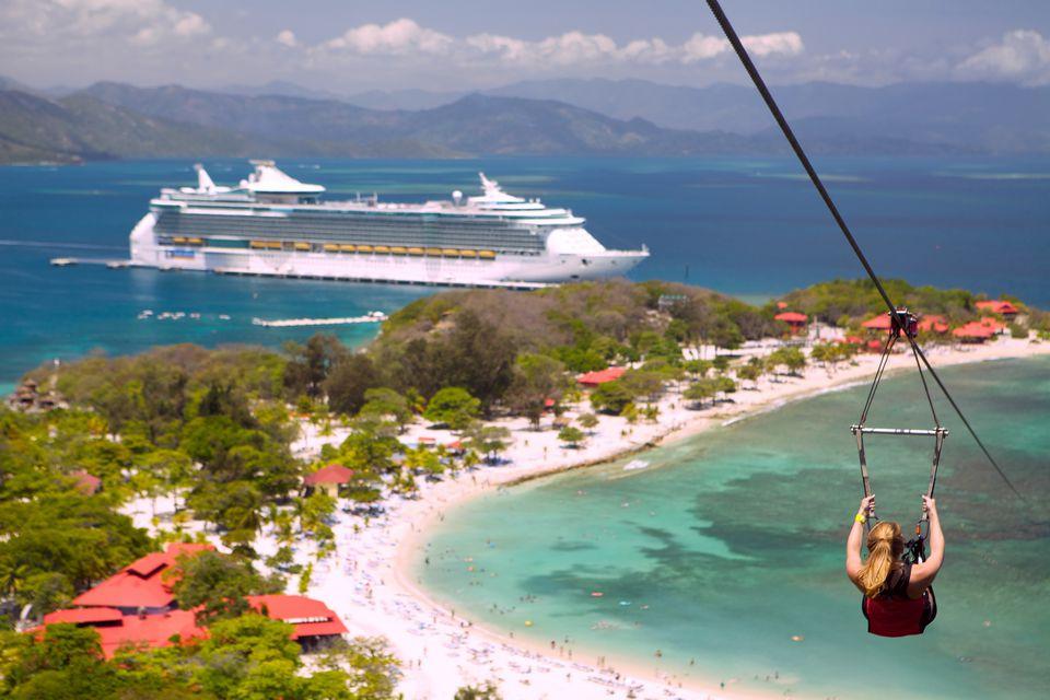Royal Caribbean ship at Labadee Beach on Haiti