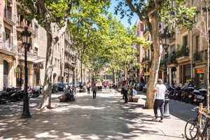 Sunny day in the Passeig del Born street in downtown Barcelona
