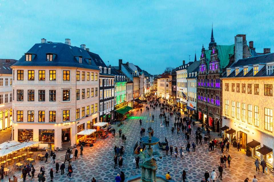 Amagertorv square decorated with Christmas lights, Copenhagen, Denmark