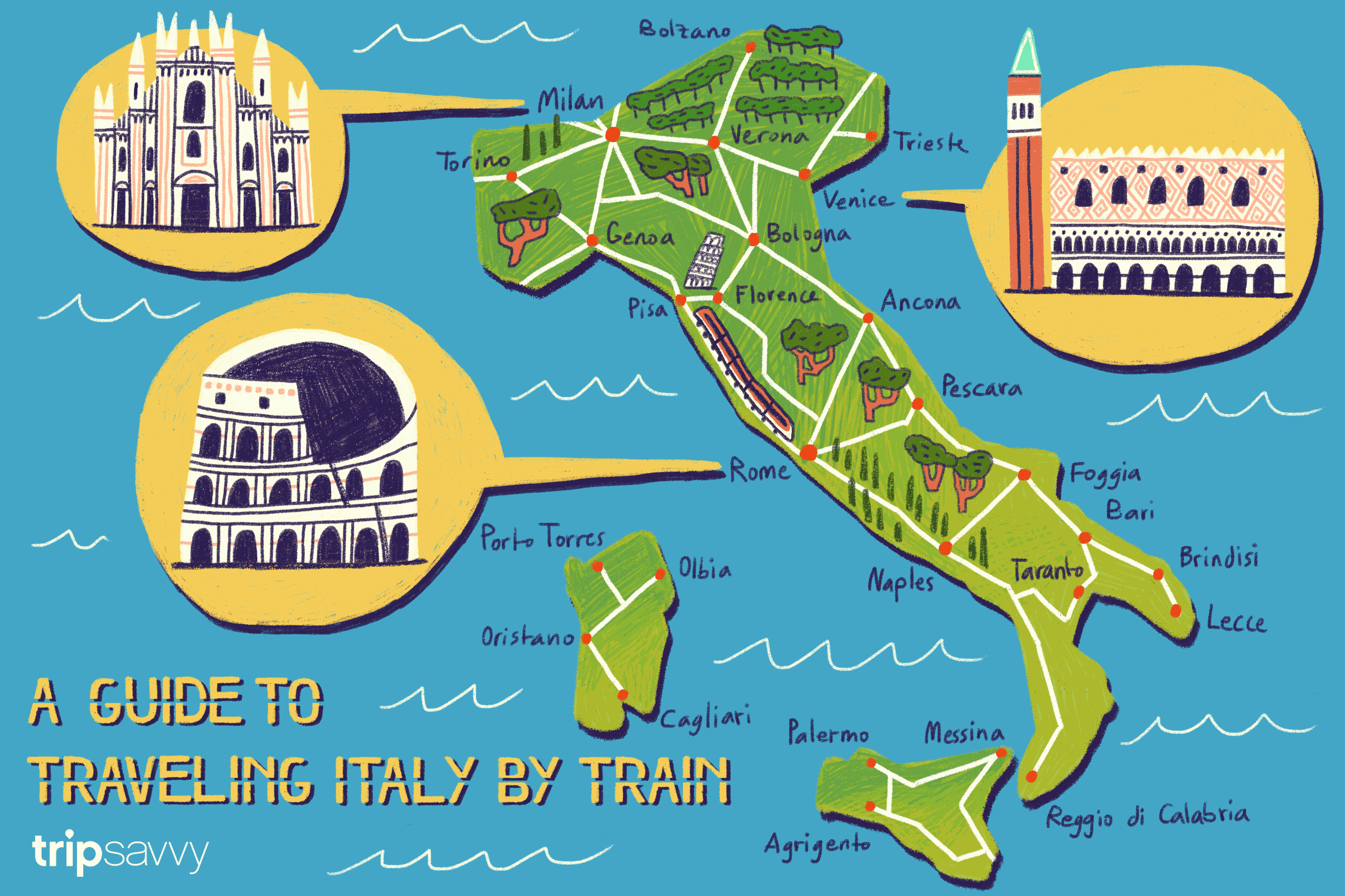 Map Of Italy In Italian.A Guide To Traveling Italy By Train