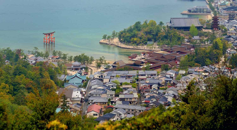 Miyajima island torii gate and town