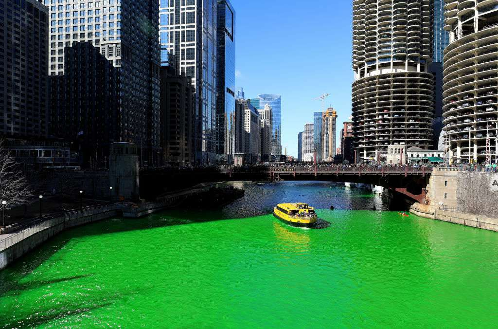 The Chicago River Goes Green For St. Patrick's Day