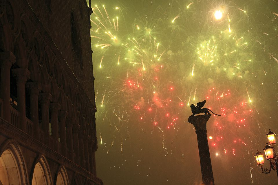 New Years Eve fireworks, Piazza San Marco, Venice, Italy