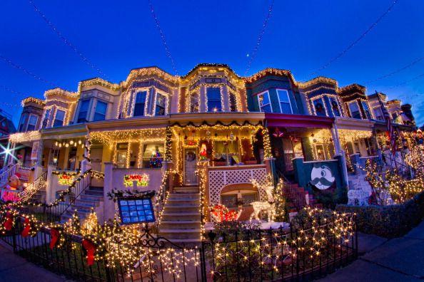 Christmas Lights on Baltimore Row Houses