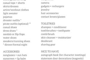 Packing List for Disney Cruise