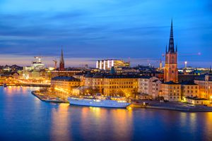Gamla Stan (old town) at night in Stockholm, Sweden