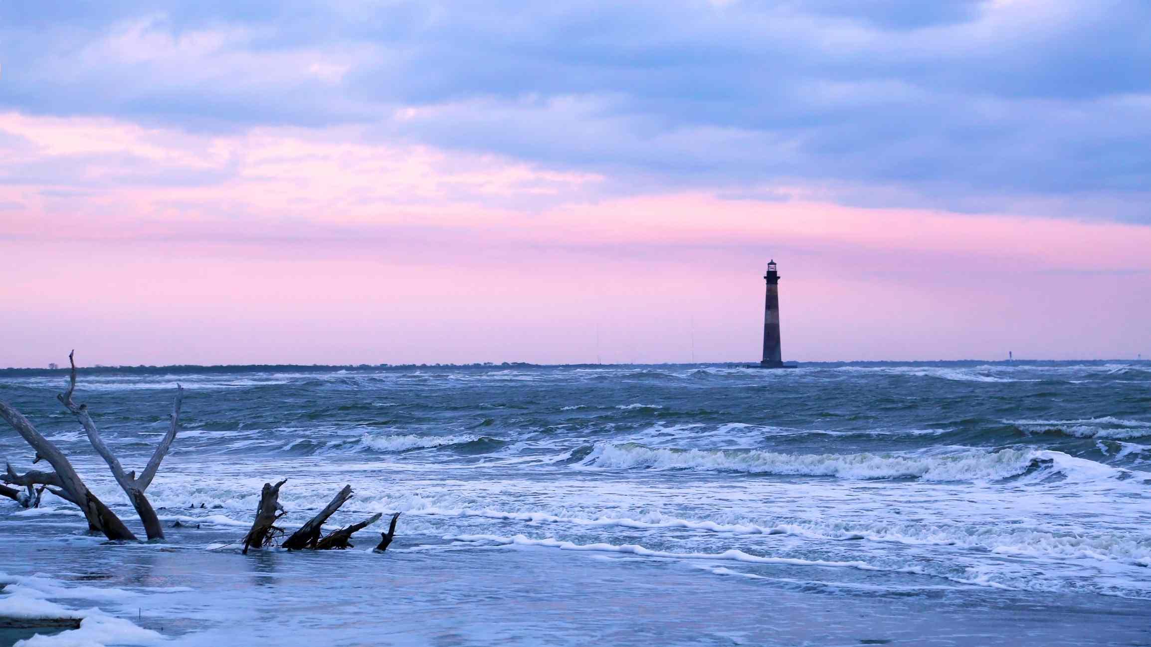 Morris Island lighthouse from Folly Beach