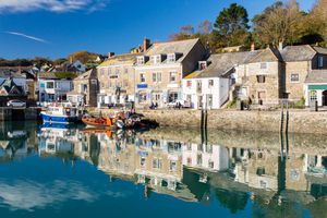 Reflections on the water in Padstow Harbour, Cornwall