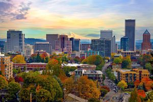 Portland Oregon downtown from Vista Bridge with view of Mount Hood and city skyline.