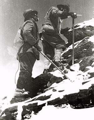 George Leigh Mallory climbing Mount Everest