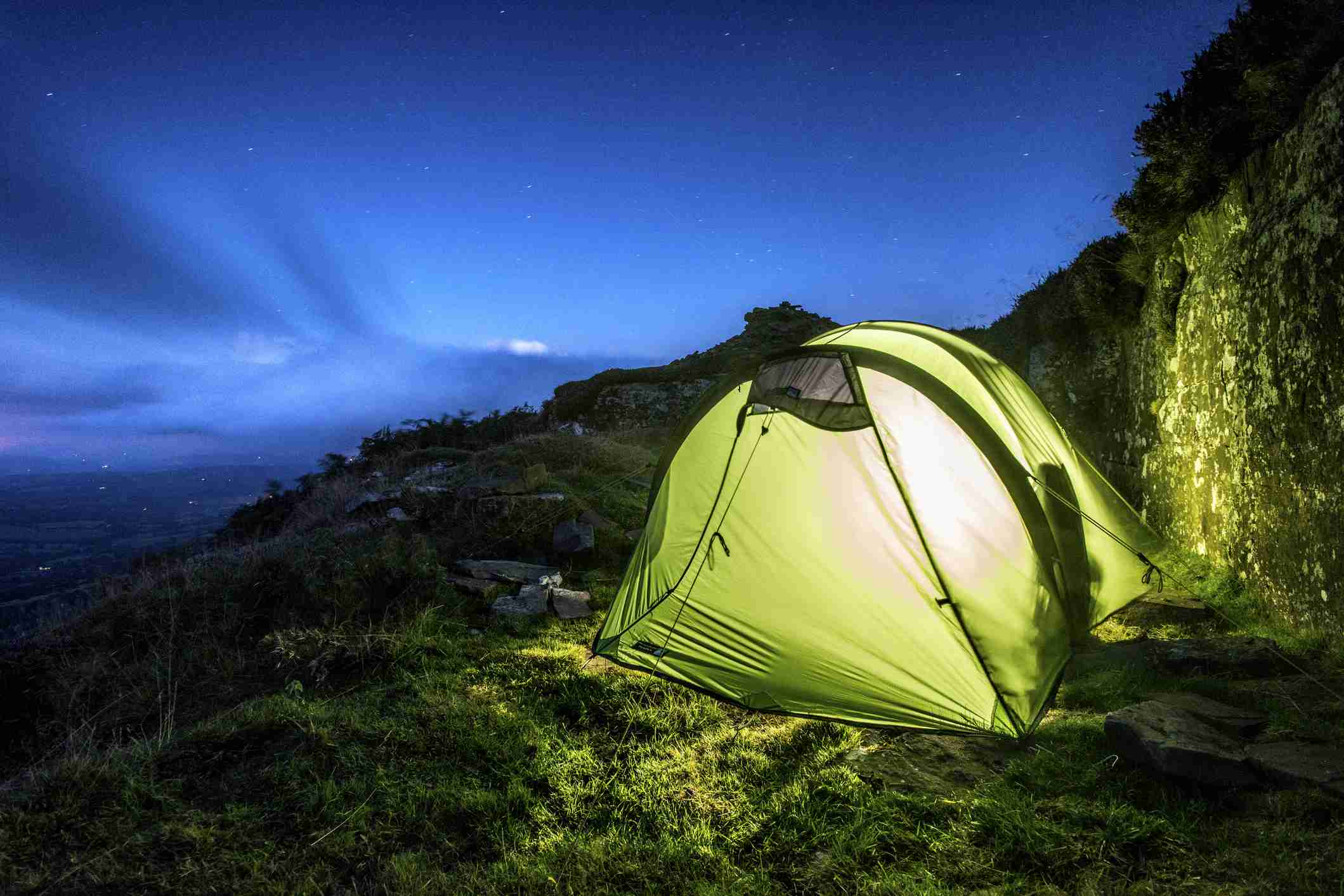 Wild camping on Black Hill in the Black Mountains on the border between England and Wales