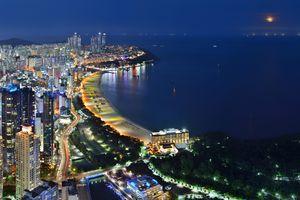 Cityscape and sea at night, Haeundae, Busan, South Korea