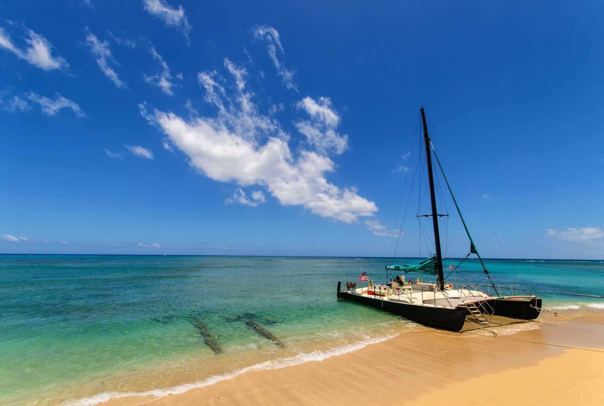 Catamaran in Waikiki, Hawaii