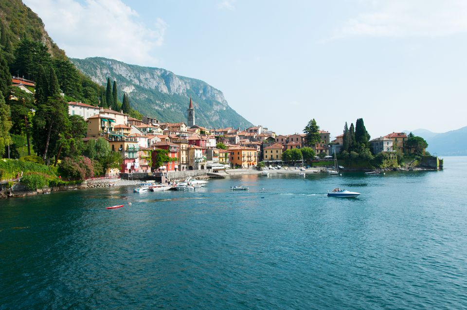 Buildings in a town at the waterfront, Varenna, Lake Como, Lombardy, Italy