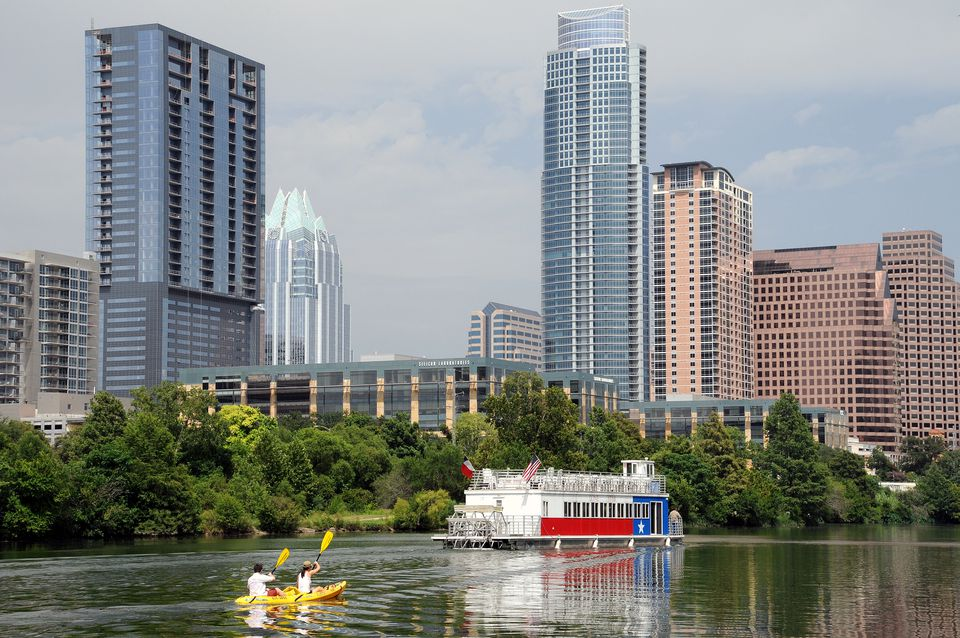 Kayaking Austin Texas Skyline Summer