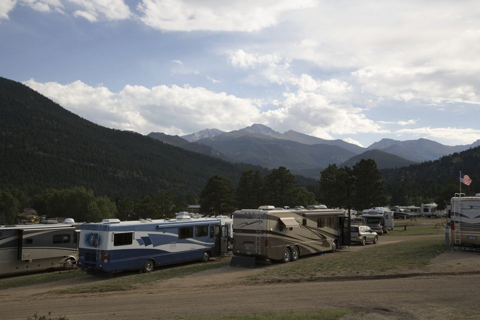 USA, Colorado, Estes Park, parked motorhomes at campsite