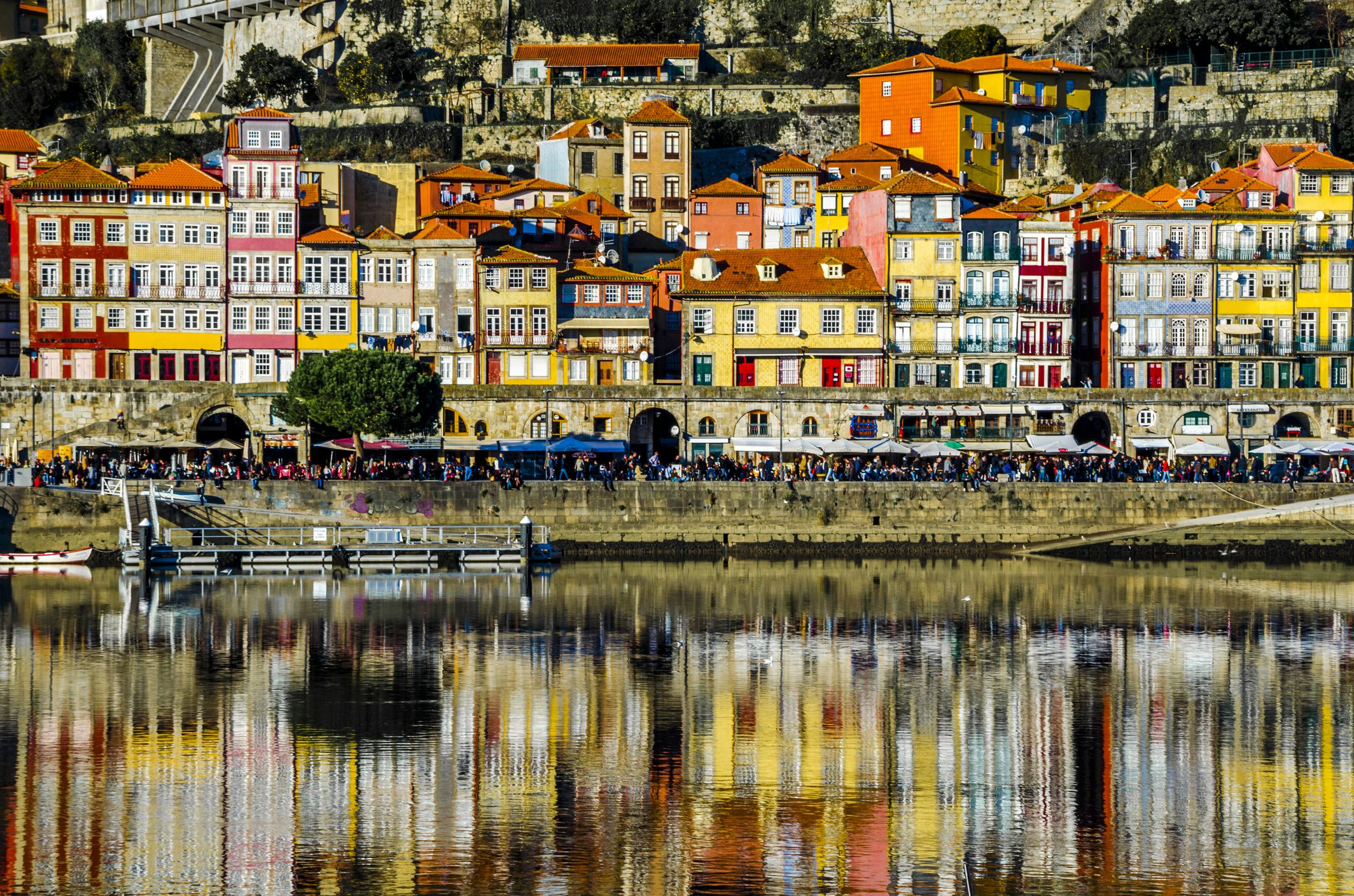 Old Porto reflected in river Douro
