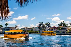 Fort Lauderdale Water Taxis crossing on the Intracoastal waterway
