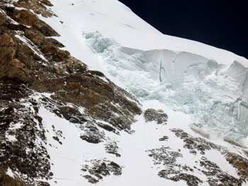 Seracs on the hanging glacier above The Bottleneck can break off and kill climbers below.