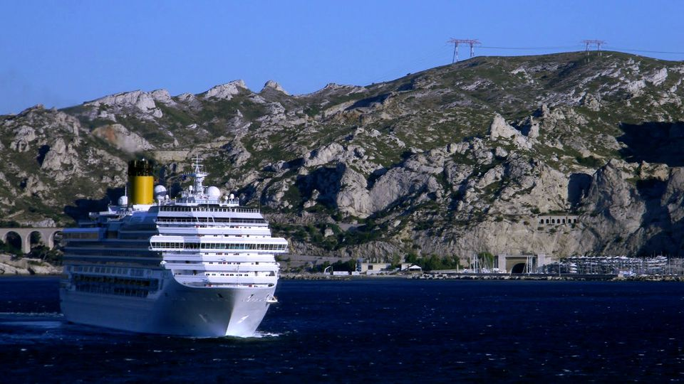 Costa Concordia Marsiglia cruise ship sailing near Marseille in France.