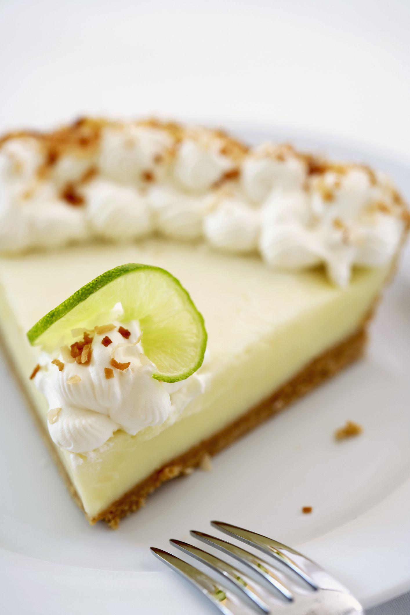 Slice of Key lime pie, close up
