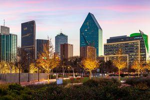 Skyline from Klyde Warren Park, Dallas, Texas, America