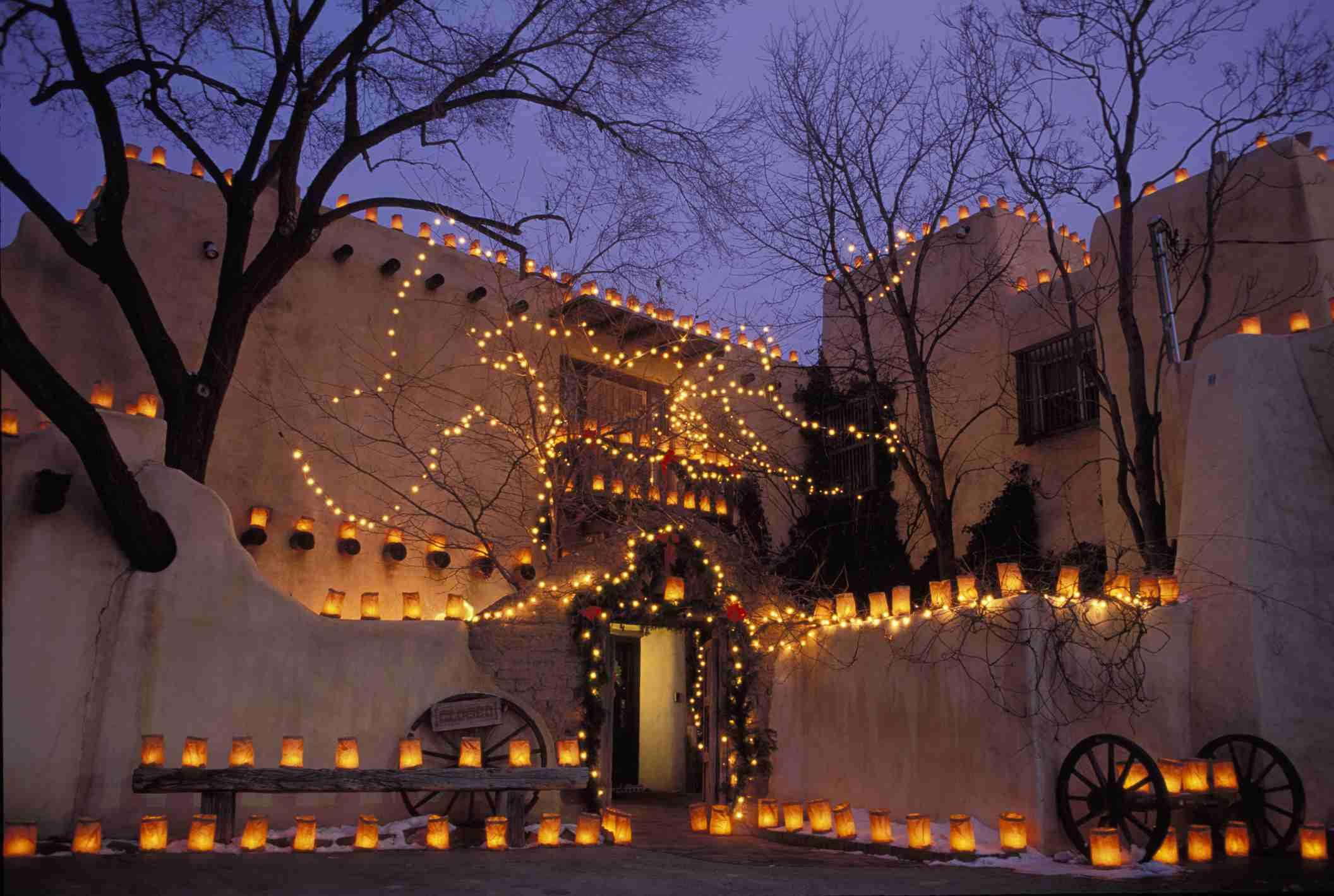 New Mexico, Santa Fe, Fenn Gallery With Farolito Lights For Christmas