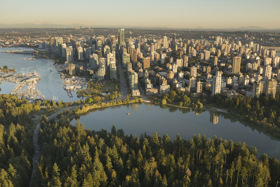 Vancouver skyline aerial w stanley pk