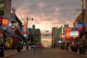 Memphis street at sunset
