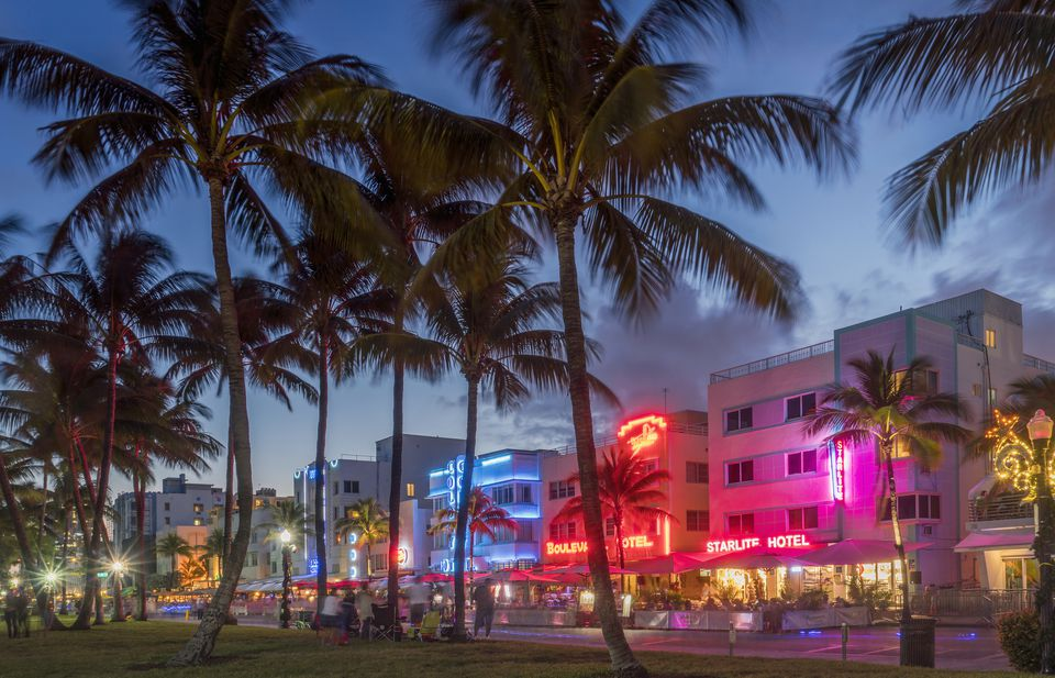 Ocean Drive At Night Miami