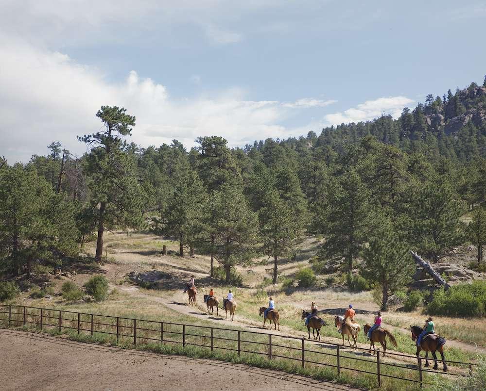 un grupo de jinetes recorren el camino a caballo