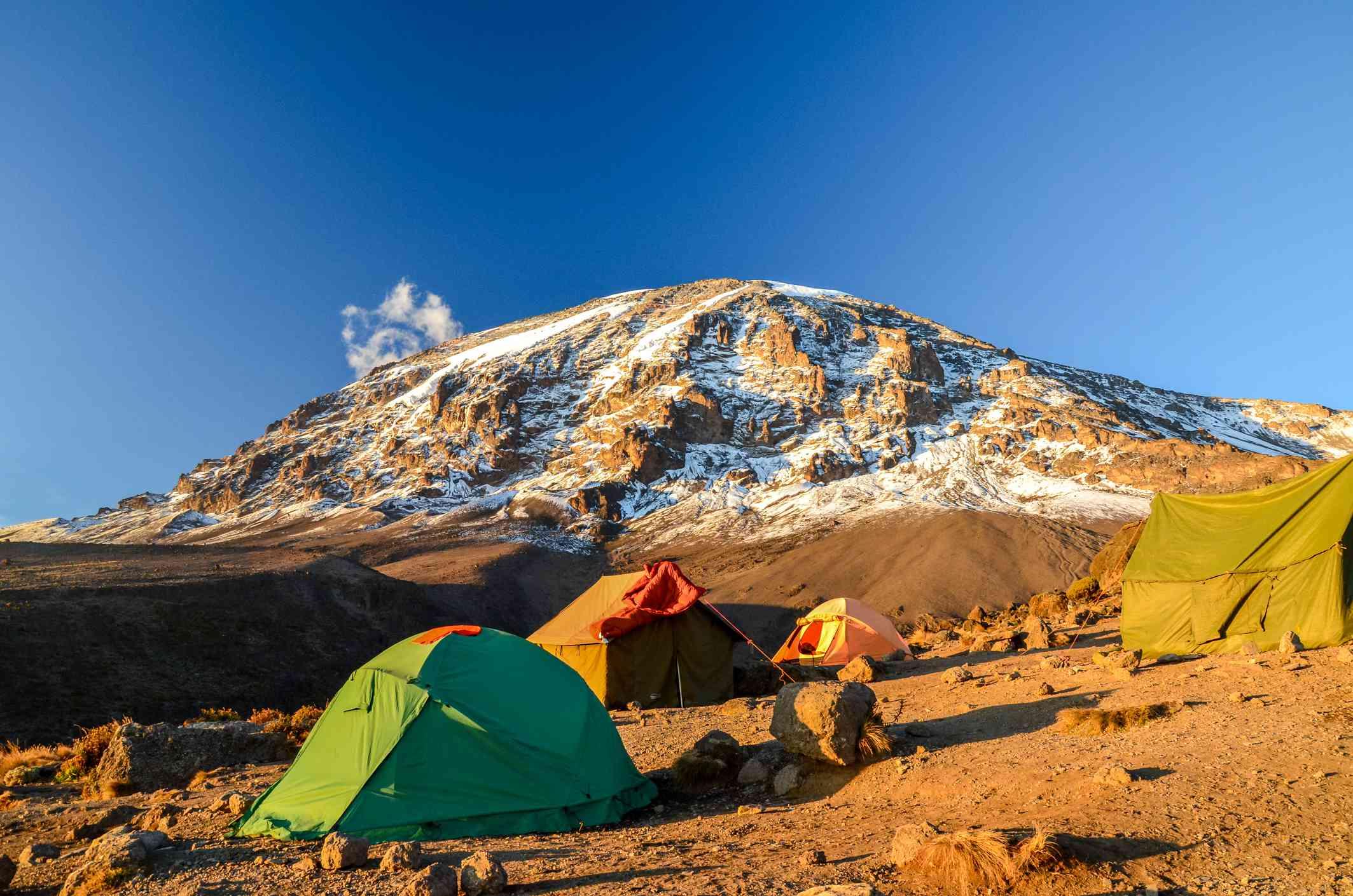 Kilimanjaro and camping tents - Tanzania, Africa