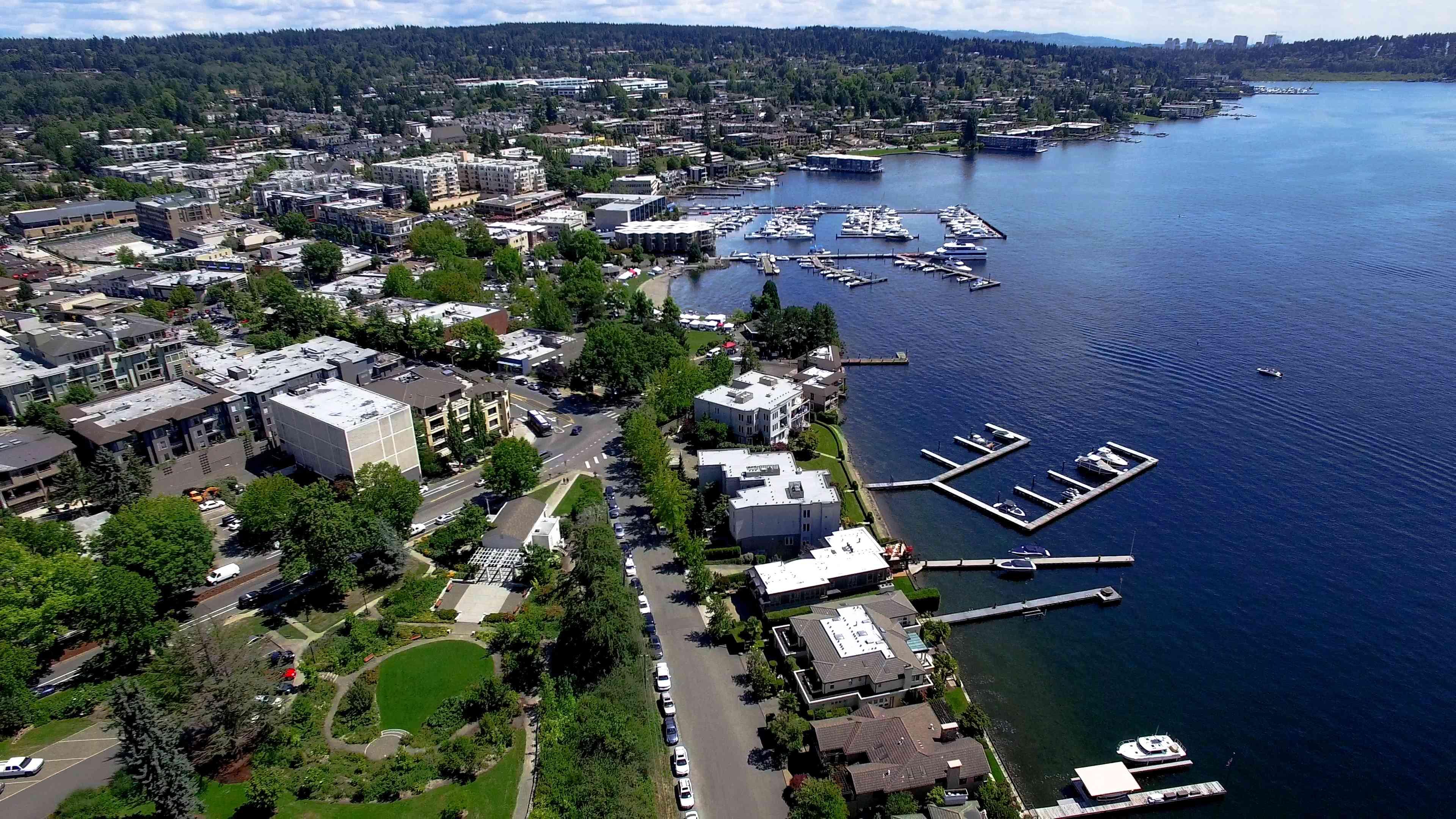 Kirkland, WA Waterfront Aerial Panoramic Lake Washington, Bellevue Skyline