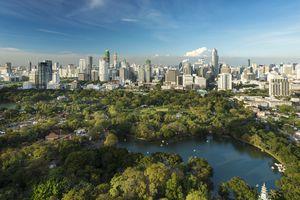 Lumpini Park and the Bangkok skyline